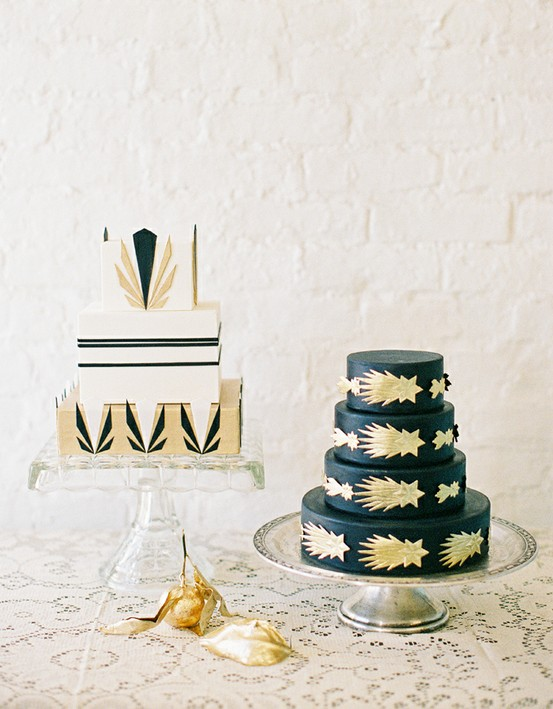 Art Deco Wedding Cakes by Jen Huang Photography.