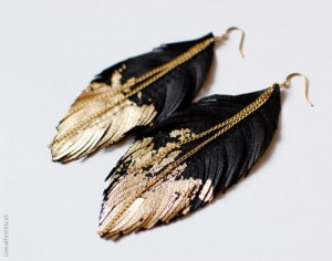 Gilded Feather Earrings by Love at First Blush.