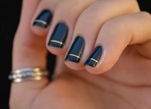 Chic Black and Gold Nail Polish.
