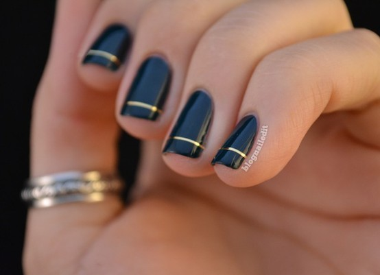 Chic Black and Gold Nail Polish.