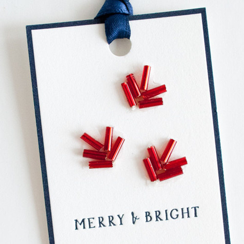 Beaded Gift Tags by Fourteen-Forty Letterpress and hushedCOMMOTION. via Design*Sponge.