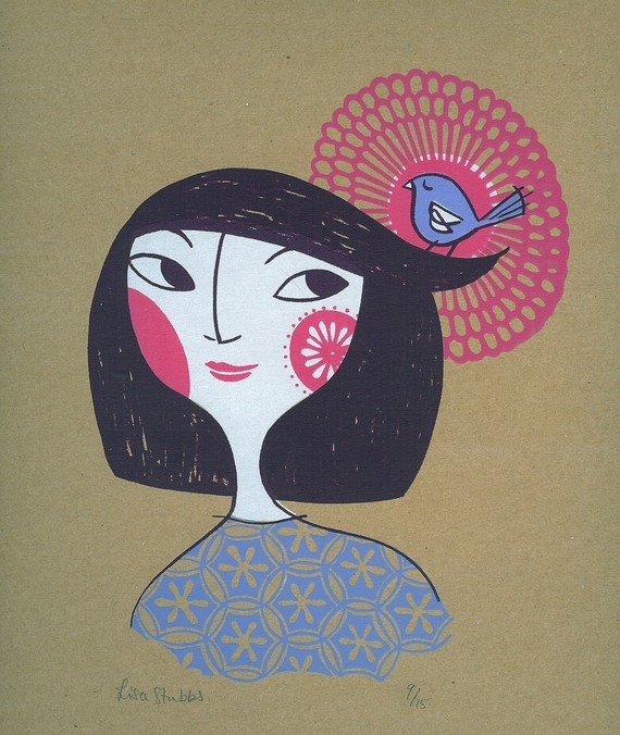 Japanese Spring Girl I by Lisa Stubbs. Screenprint.