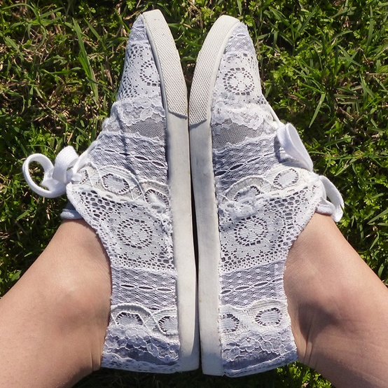 DIY Lace Sneakers by Dream a Little Bigger via Emily Soppe.