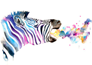 Watercolor Zebra by Mary Jones