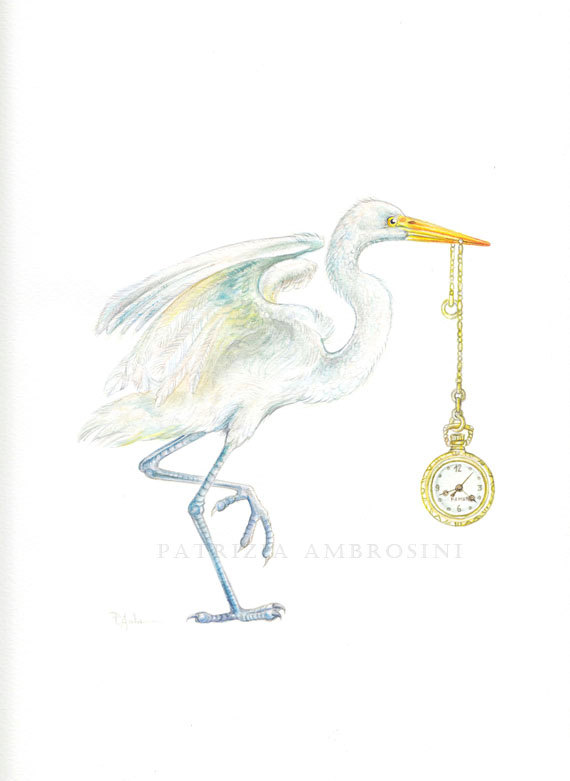 Heron with Pocket Watch by Patrizia Ambrosini