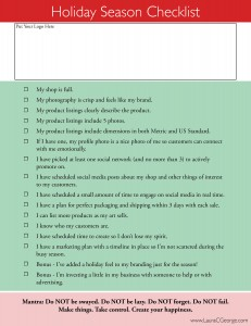 Holiday Season Checklist for Artists by Laura C George.