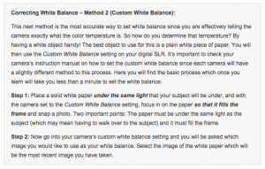 White Balance Instructions from Anthony Hutchinson