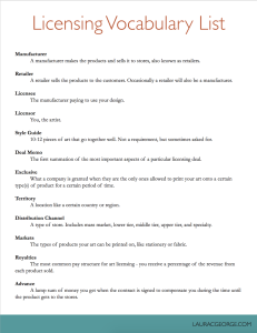 Licensing Vocabulary List