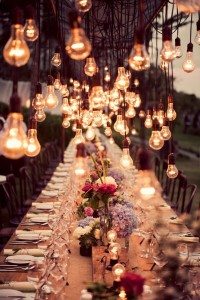 Hanging Lightbulbs by Studio Impressions Photography via Events Beyond.