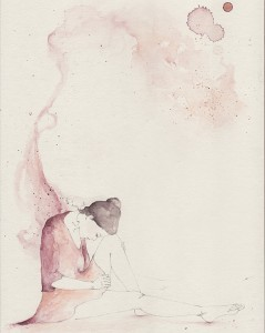 Fell In Love With Melancholy by Emma Leonard. Watercolor.