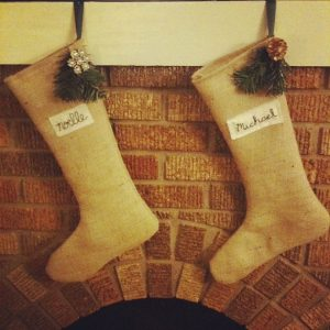 Personalized Burlap Christmas Stockings from Life Woven.