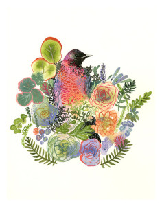 Grackle and Succulents by Amber Alexander