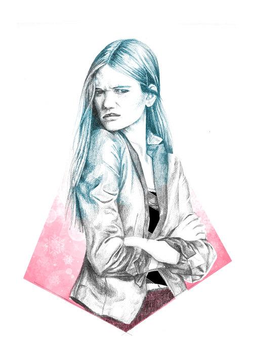 Angry Girl by Naran Jalidad. Illustration.