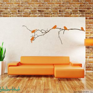 Bare Branch 5 Birds Vinyl Decal by The Sticker Hut