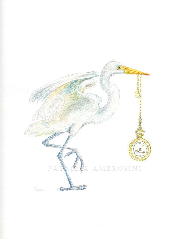 Heron with Pocket Watch by Patrizia Ambrosini