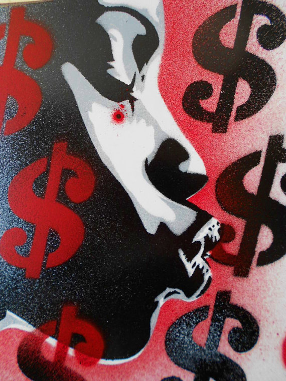 She Takes My Money by Leon Keay. Spray paint on wood.