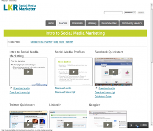 the SMM courses page from LKR's Social Media Marketer program