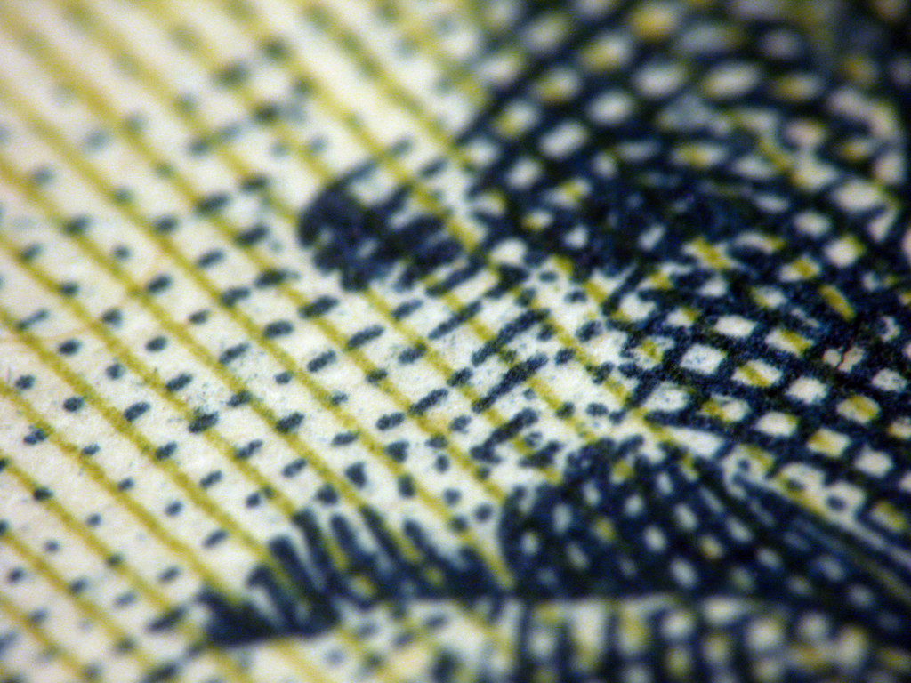 Paper Money, Extreme Macro by Kevin Dooley. Photograph.