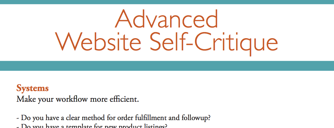 Advanced Website Self-Critique for Artists